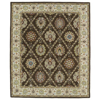 Hand-tufted Anabelle Chocolate Trellis Wool Rug (5' x 7'9)