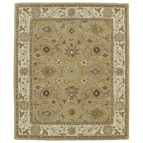 "Hand-tufted Anabelle Camel Kashan Wool Rug (7'6 x 9') - 7'6"" x 9'"