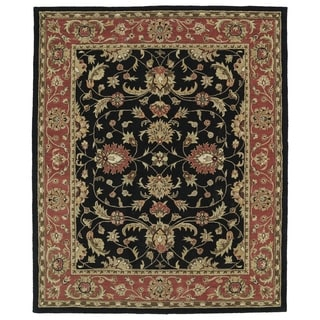 Hand-tufted Anabelle Black Kashan Wool Rug (5' x 7'9)