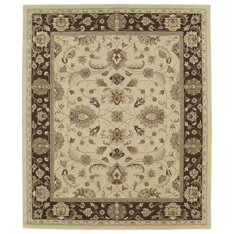 "Hand-tufted Anabelle Gold Kashan Wool Rug (7'6 x 9') - 7'6"" x 9'"