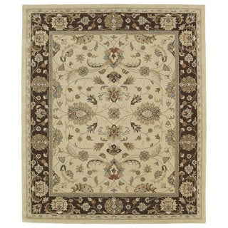 Hand-tufted Anabelle Gold Kashan Wool Rug (8' x 11') - 8' x 11'
