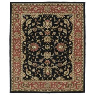 "Hand-tufted Anabelle Black Kashan Wool Rug (7'6 x 9') - 7'6"" x 9'"