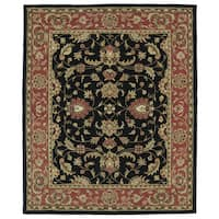 Hand-tufted Anabelle Black Kashan Wool Rug (7'6 x 9')