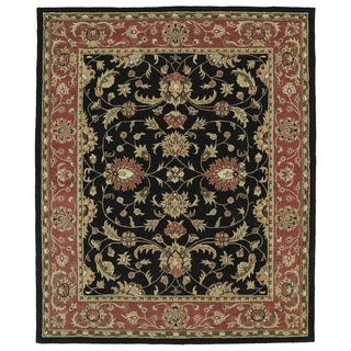 Hand-tufted Anabelle Black Kashan Wool Rug (8' x 11')