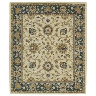 """Hand-tufted Anabelle Gold Agra Wool Rug - 7'6"""" x 9'"""