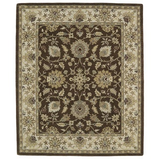 Hand-tufted Anabelle Chocolate Kashan Wool Rug (5' x 7'9)