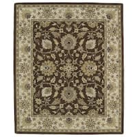 Hand-tufted Anabelle Chocolate Kashan Wool Rug - 7'6 x 9'