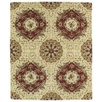 Hand-tufted Anabelle Gold Panel Wool Rug (5' x 7'9)