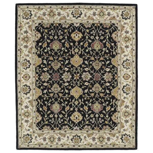 """Hand-tufted Anabelle Black Wool Rug - 7'6"""" x 9'"""