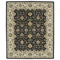 Hand-tufted Anabelle Black Wool Rug - 7'6 x 9'