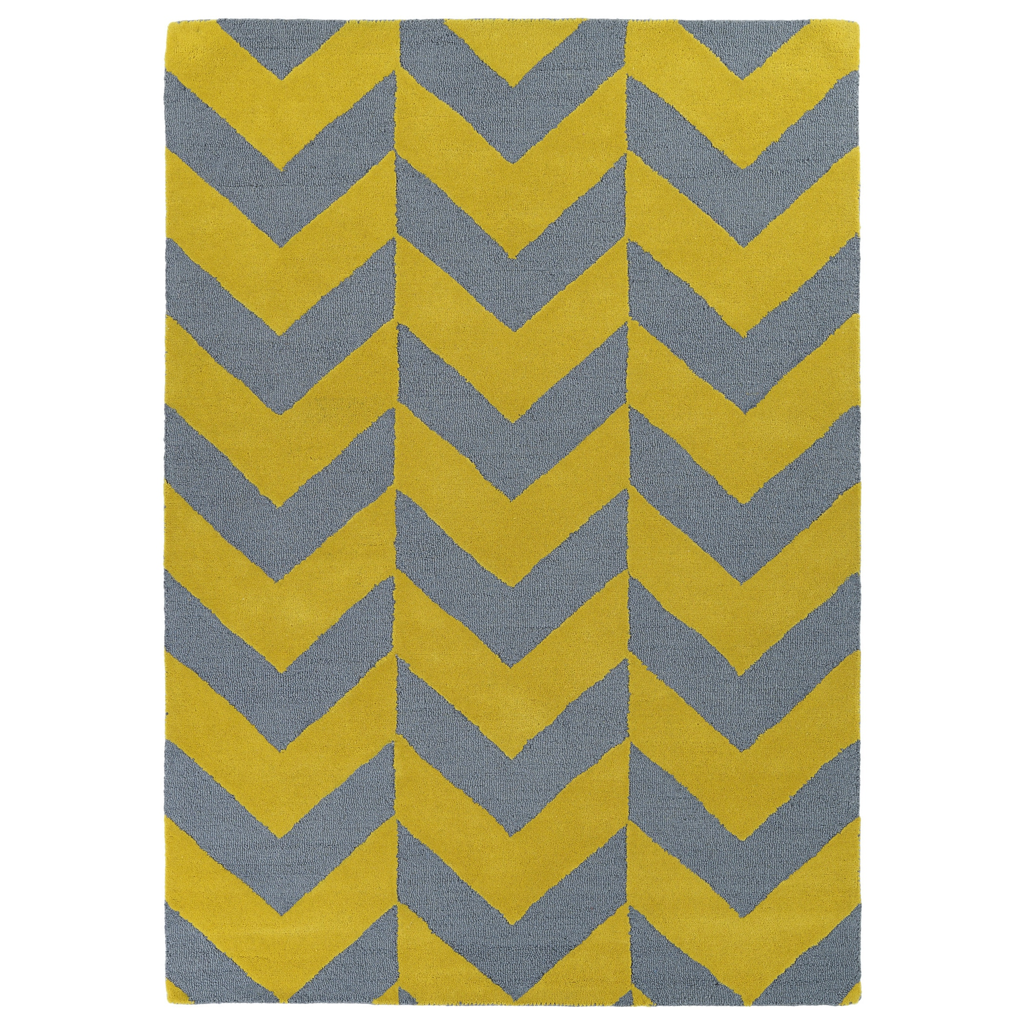 Hand Tufted Grey Yellow Prints Chevron Rug 2 X 3