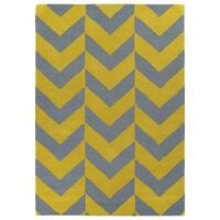 Hand-tufted Grey/ Yellow Prints Chevron Rug (5' x 7')
