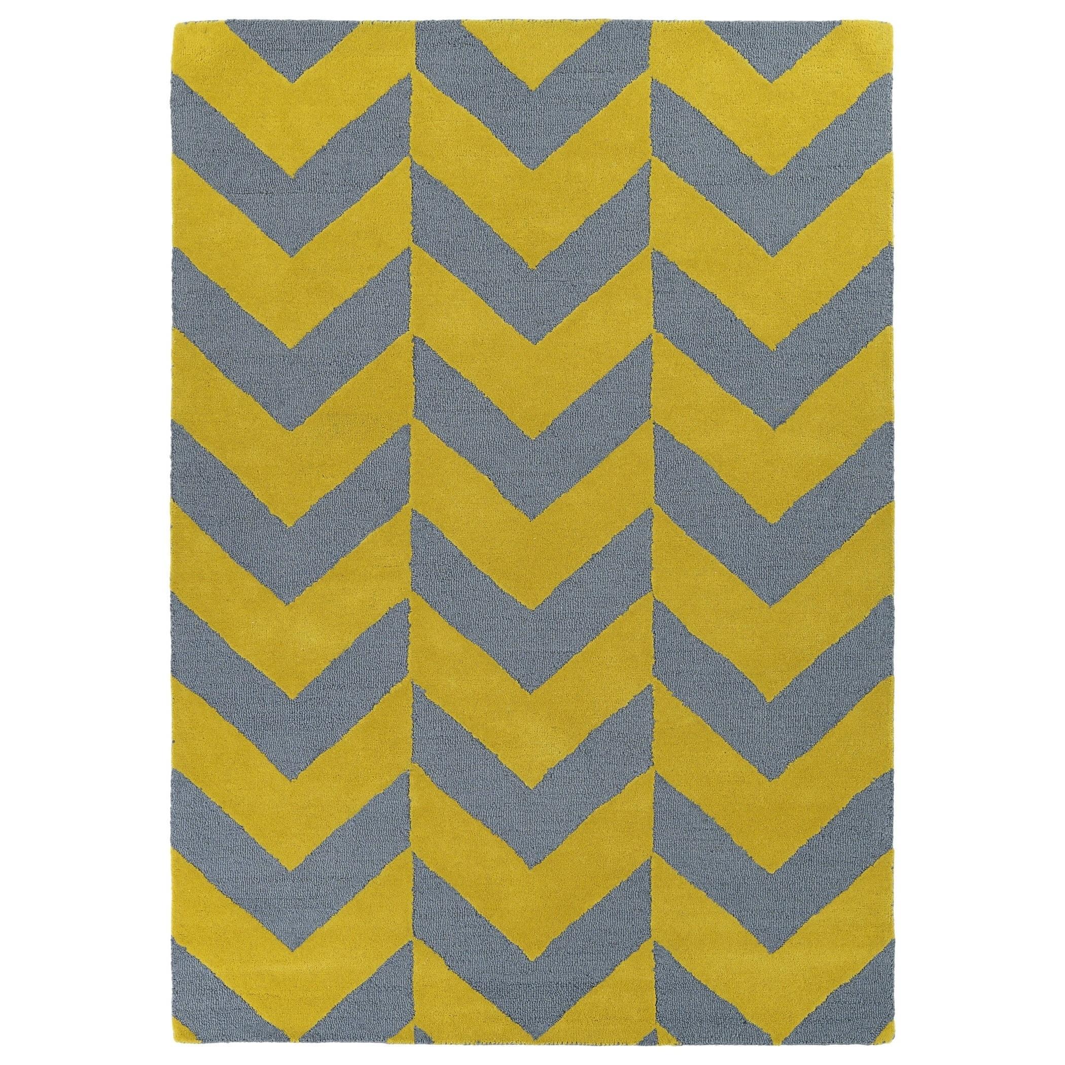 Hand Tufted Grey Yellow Prints