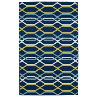 Hollywood Flatweave Navy Stripes Rug (5' x 8')