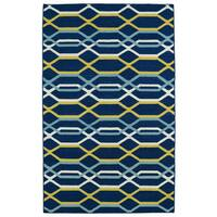 Hollywood Flatweave Navy Stripes Rug