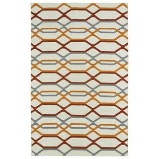 Hollywood Flatweave Ivory Stripes Rug (3'6 x 5'6)