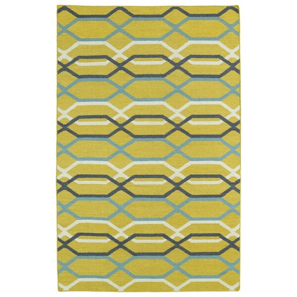 Hollywood Flatweave Yellow Stripes Rug - 2' x 3'