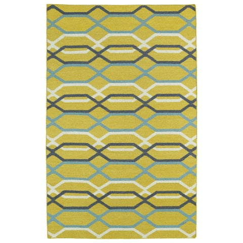 Hollywood Flatweave Yellow Stripes Rug - 2' x 3'