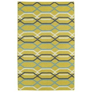 Hollywood Flatweave Yellow Stripes Rug (5' x 8')