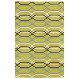Hollywood Flatweave Yellow Stripes Rug (8' x 10')