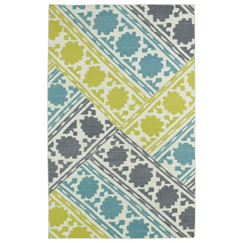 Hollywood Flatweave Turquoise Patchwork Rug - 2' x 3'