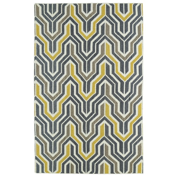 Hollywood Grey/ Yellow Flatweave Rug (8' x 10') - 8' x 10'