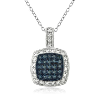 DB Designs Sterling Silver 1/4ct TDW Blue Diamond Necklace