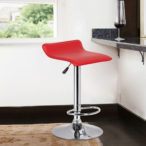 Adeco Red Low Back Hydraulic Lift Adjustable Bar Stool Set