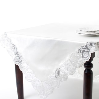 Silver Embroidered Lace Border Tablecloth