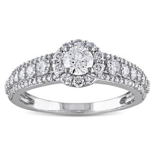 Miadora Signature Collection 14k White Gold 1ct TDW Diamond Halo Ring