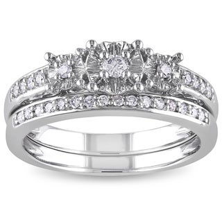 Miadora 10k White Gold 1/4ct TDW Diamond 3-stone Anniversary-style Stackable Bridal Ring Set