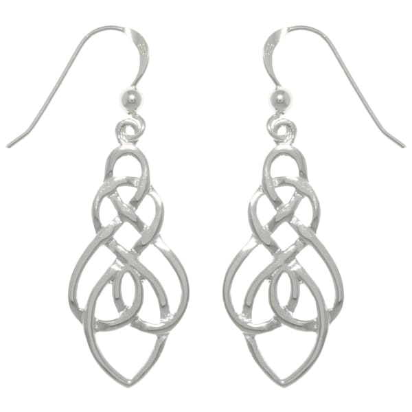 Sterling Silver Elegant Celtic Knot Drop Dangle Earrings