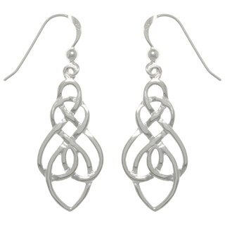 Carolina Glamour Collection Sterling Silver Elegant Celtic Knot Drop Dangle Earrings