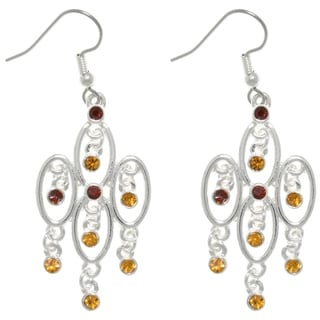 Carolina Glamour Collection Silver Plated Pewter Chandelier Dangle Earrings with Amber Rhinestone Crystals