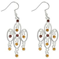 Silver Plated Pewter Chandelier Dangle Earrings with Amber Rhinestone Crystals