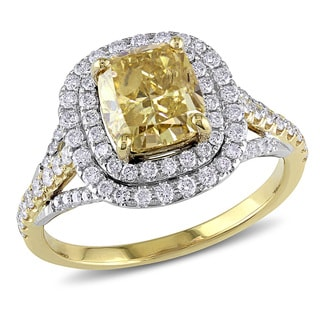 Miadora Signature Collection 14k Yellow Gold 2 3/5ct TDW Certified Yellow and White Diamond Ring