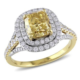 Miadora Signature Collection 14k Yellow Gold 2 3/5ct TDW Certified Yellow and White Diamond Ring (I1, GIA)