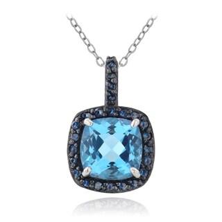 Glitzy Rocks Silver Swiss Blue Topaz and 1/4ct TDW Blue Diamond Square Necklace (I2-I3)