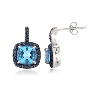 Glitzy Rocks Sterling Silver Swiss Blue Topaz and 1/4ct TDW Blue Diamond Earrings (I2-I3)