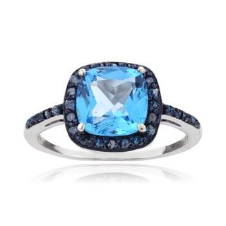 Glitzy Rocks Sterling Silver 3 1/3ct TGW Swiss Blue Topaz and 1/4ct TDW Blue Diamond Square Ring (I2-I3)