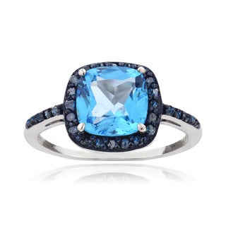 Glitzy Rocks Sterling Silver 3 1/3ct TGW Swiss Blue Topaz and 1/4ct TDW Blue Diamond Square Ring (I2-I3)