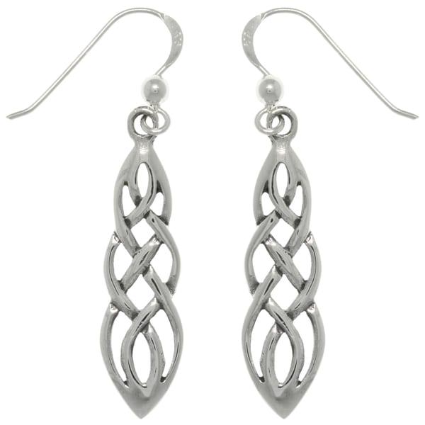 Sterling Silver Celtic Knot Linear Teardrop Dangle Earrings