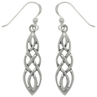 Carolina Glamour Collection Sterling Silver Celtic Knot Linear Teardrop Dangle Earrings