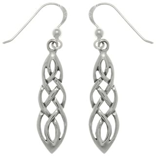 Sterling Silver Celtic Knot Linear Teardrop Dangle Earrings