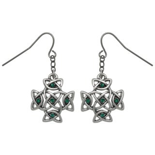Pewter Celtic Cross with Green Crystals Dangle Earrings