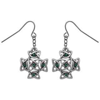 Carolina Glamour Collection Pewter Celtic Cross with Green Crystals Dangle Earrings