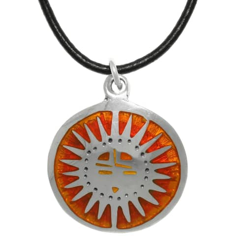 Mexican Sun Rise Pewter Pendant with Black Leather Necklace