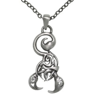 Pewter Stylized Scorpion Pendant Necklace