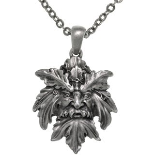 Pewter Mystical Green Man Leaf Face Pendant on Chain Necklace