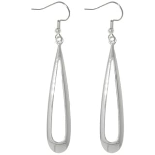 Carolina Glamour Collection Silver Plated Brass Bright Finish Long Open Teardrop Dangle Earrings